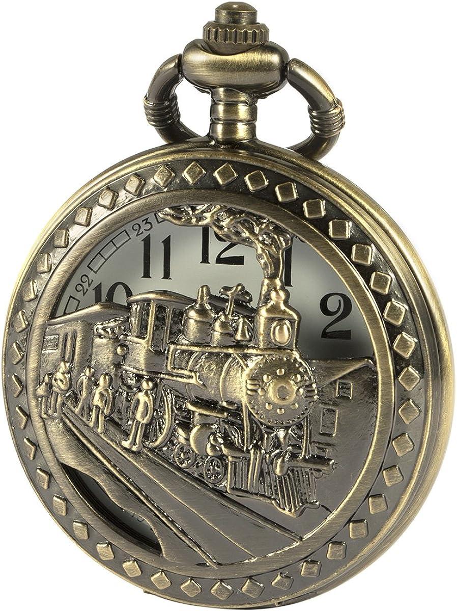 SIBOSUN Antiguo Hombres Reloj de Bolsillo con Cadena Bronce Caja 3D Vapor Locomotora Tren ferrocarril Hueco de + Caja