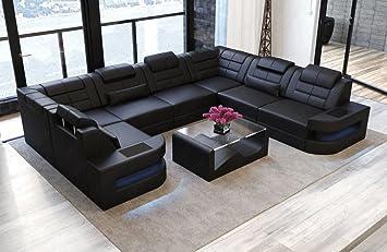 Sofa Dreams Leder Wohnlandschaft Como U Form Schwarz Amazon De