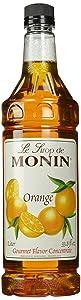 Monin Flavored Syrup, Orange, 33.8-Ounce Plastic Bottles (Pack of 4)