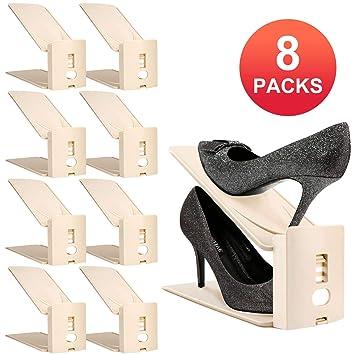 2cddedbf HULISEN Organizadores Ajustables de Zapatos con Ranuras Soportes de Calzado  Apilador para Zapatos Ahorro de Espacio (8 Packs-Beige): Amazon.es:  Juguetes y ...