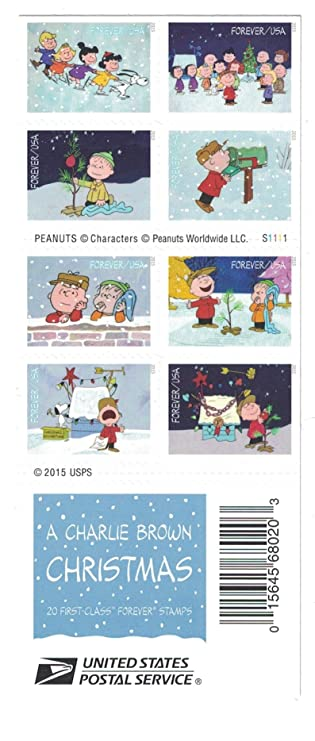 Usps Christmas Stamps.Usps Charlie Brown Xmas Pane Of 20 Forever Postage Stamps Scott 5021 30