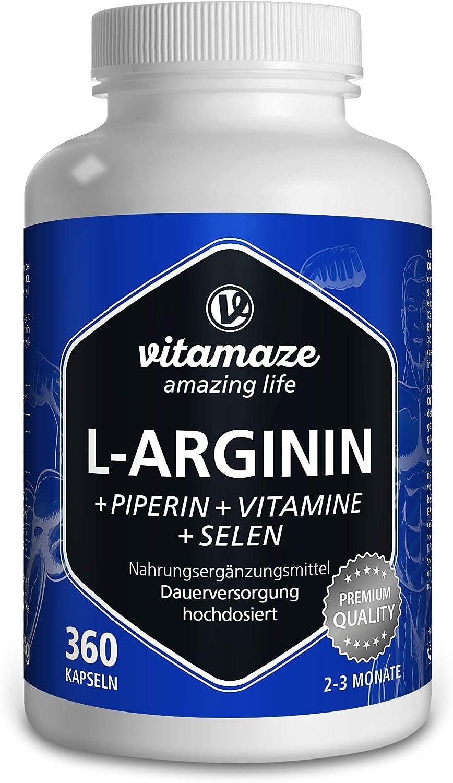 L-Arginina Capsulas 4500 mg, 360 Comprimidos con Formula Vital B6, B12 + Acido Folico + Selenio y Piperina, sin Aditivos Innecesarios