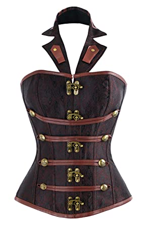 c582e36a5d2 Charmian Women s Steel Boned Halter Goth Vintage Steampunk Overbust Corset  Top with Buckles Brown Small