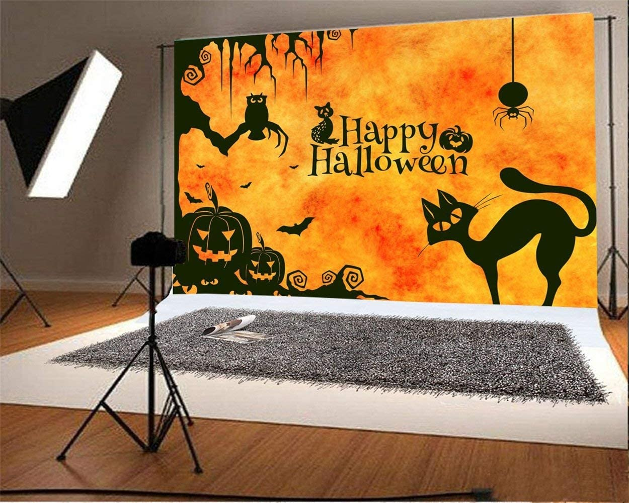Happy Halloween Backdrop 10x6.5ft Polyester Photography Background Orange Tone Gloomy Night Grimace Grinning Pumpkin Lamps Owl Black Cat Hanging Spider Illustration Trick or Treat Party Kids Shoot