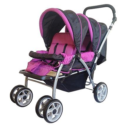 mascarello® Juego de carrito para bebé tándem doble silla de paseo Buggy, color morado