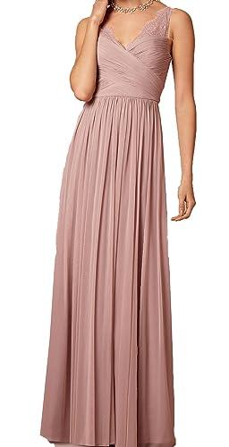 Firose Long Chiffon Bridesmaid dress Lace See-through Prom Dress