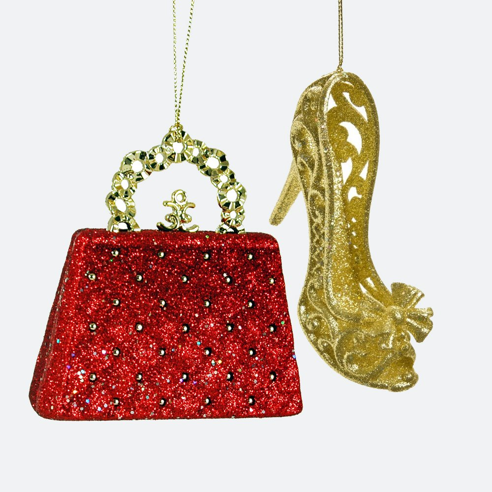 amazon com glittery purse and heel hanging christmas ornament set