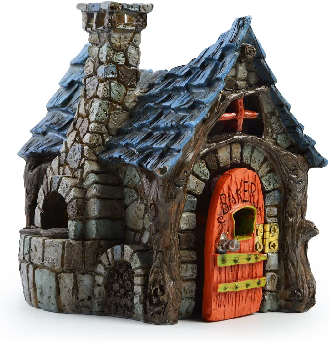 Miniature Fairy House Statue – Garden Décor Accessories Home for Fairies (Village Bakery)