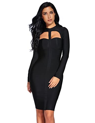 Meilun Womens Rayon Long Sleeve Bodycon Bandage Party Dress