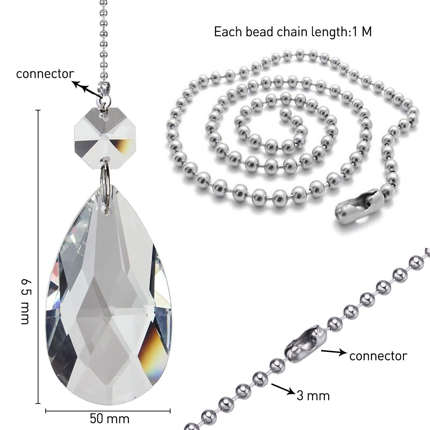 Jovitec 2 Pack Clear Cone Crystal Pull Chain Extension with Connector for Ceiling Light Fan Chain 1 Meter Long Each Chain
