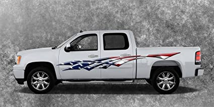 Amazoncom Car Truck American Flag Side Decals Graphics Stripes - Truck decals and graphics