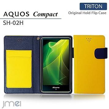 a3dfaa6c1f AQUOS Compact SH-02H ケース jmeiオリジナルホールドフリップケース TRITON イエロー docomo ドコモ アクオス