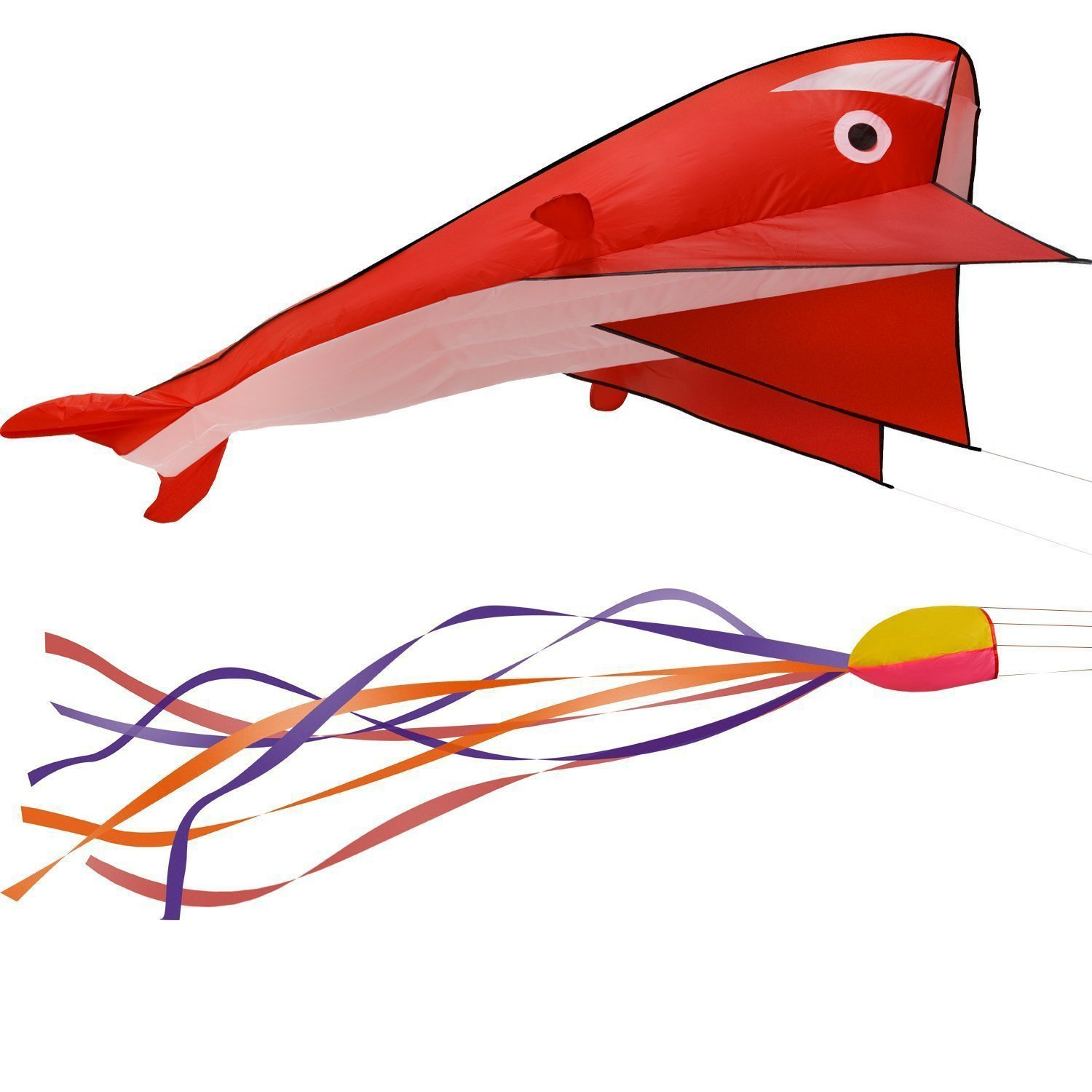 Fixm Kites for the Beach Huge 3d Dolphin Kite for Adults Kids Boys Girls with Handle Line Red