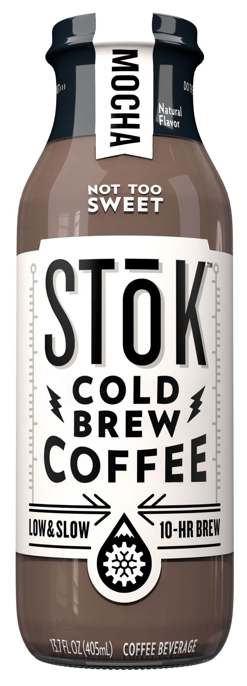 SToK Cold-Brew Iced Coffee, Mocha, 13.7 Ounce Bottle 10-Hour Brew Cold-Brew Arabica-Based Coffee, Chocolate-Flavored Ready-to-Drink Mocha Coffee, Pour over Ice or Drink Hot by SToK