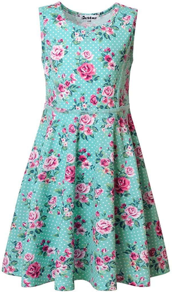 Girls 100/% Cotton Dress Floral Kids Summer Party Green Casual Age 3 4 5 6