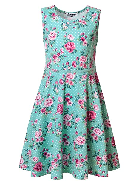 be07ade177e2 Jxstar Little Girls Floral Print Dress For Skater Flowers Pattern  Sleeveless Summer Dress Angel Blue 110