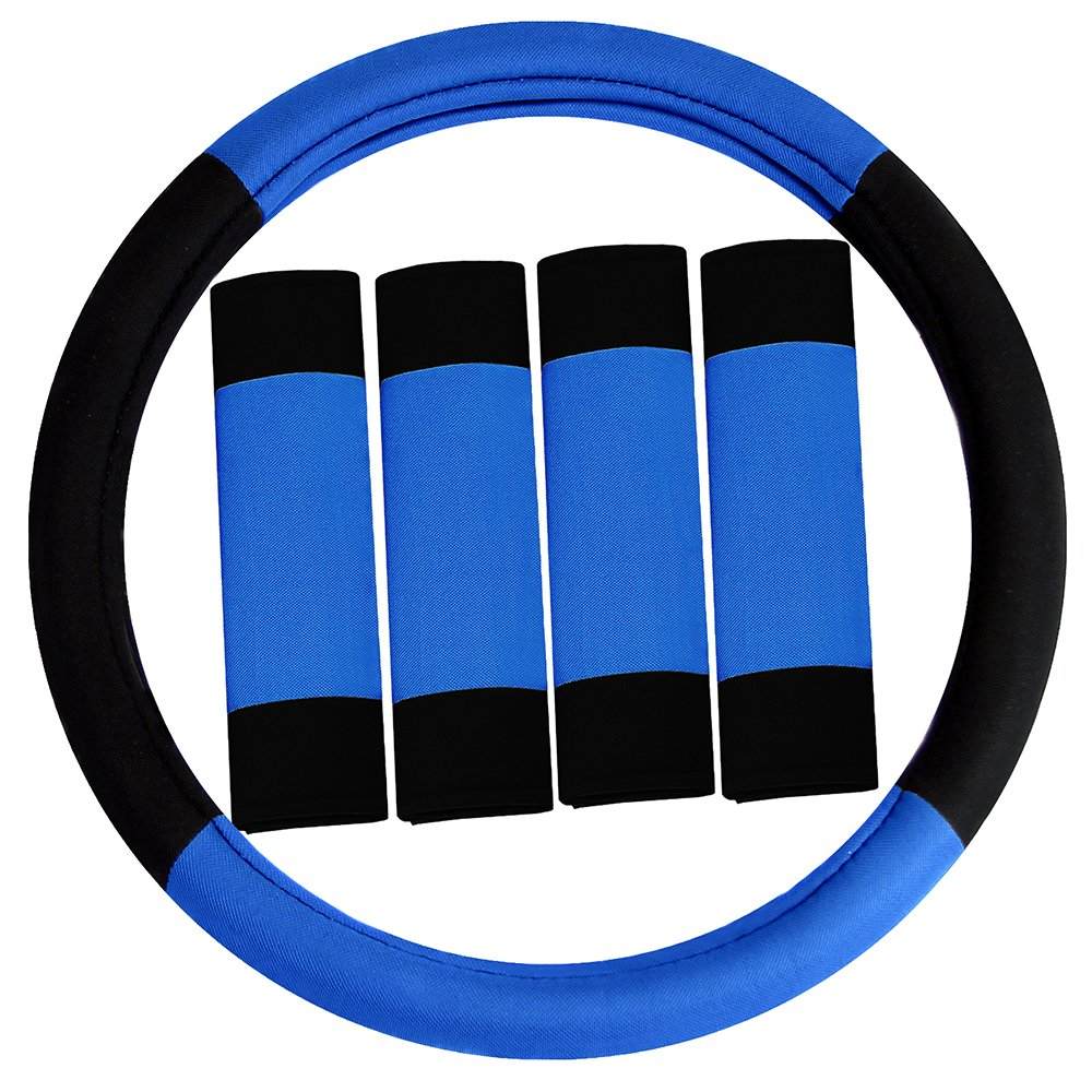 FH Group FH2033BLUE Steering Wheel Cover (Modernistic and Seat Belt Pads Combo Set Blue)