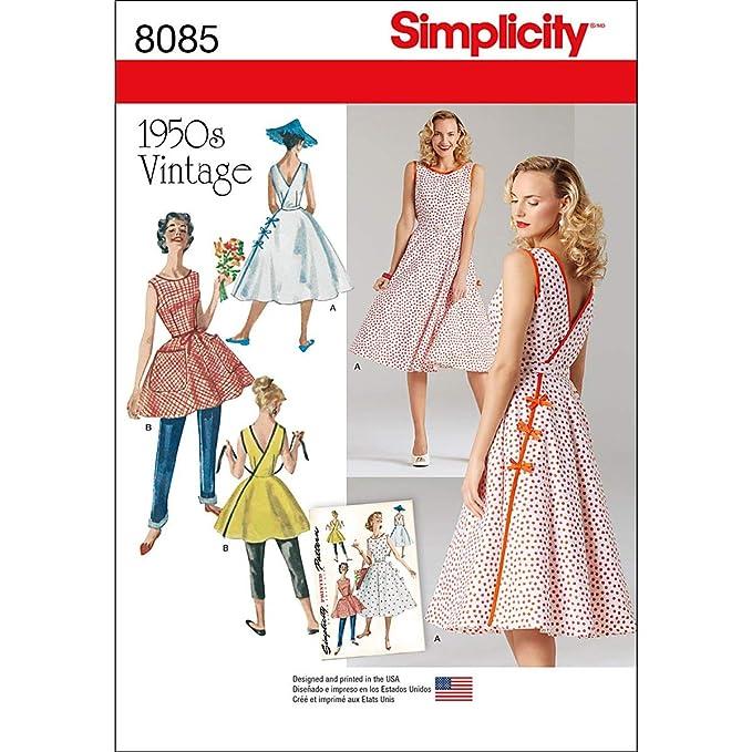 1950s Sewing Patterns | Dresses, Skirts, Tops, Mens Simplicity Pattern 8085 H5 Misses Vintage 1950s Wrap Dress in Two Lengths Size 6-8-10-12-14 $7.63 AT vintagedancer.com
