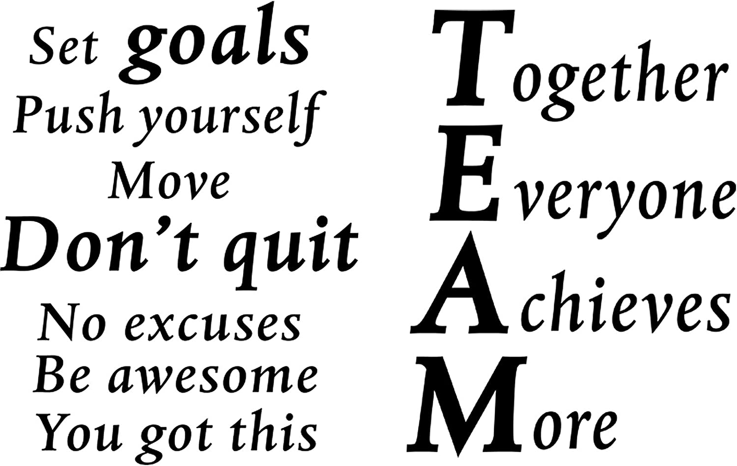 2 Sheets Motivational Wall Decals Vinyl Inspirational Quotes Stickers Together Everyone Achieves More Office Positive Sayings Wall Decals for Office Classroom Team Gym Home Bedroom Decor