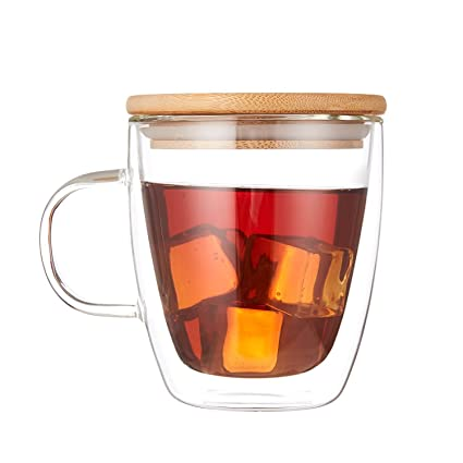 853dcdb64b4 Cooko Crystal Coffee Glass Cup,Double Wall Glass,Heat-Resistant Cup,High  Borosilicate Mug with Bamboo Lid for Tea,Latte,Milk,Beer,Juice,350ml set of  1: ...