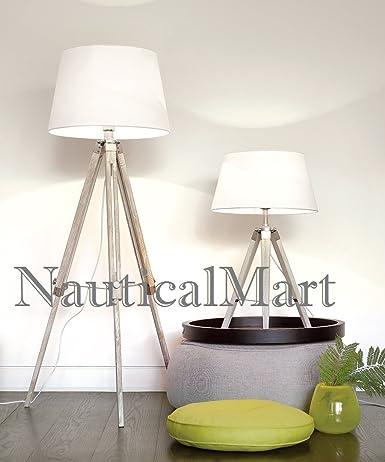 Natural Teak Wooden Tripod Table Lamp Classical Industrial Floor