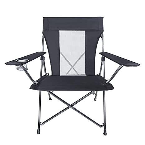 LCH Outdoor Folding Camping Chair Support 300lbs Oversized Padded Deluxe  Mesh High Back With Cup Holder