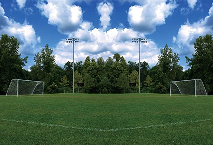 SZZWY Football Stadium Sport 10x7ft Vinyl Photography Backdrop Soccer Green Playground Grass Gym Leisure Game Night Champion Adult Student Photo Prop Banner Background