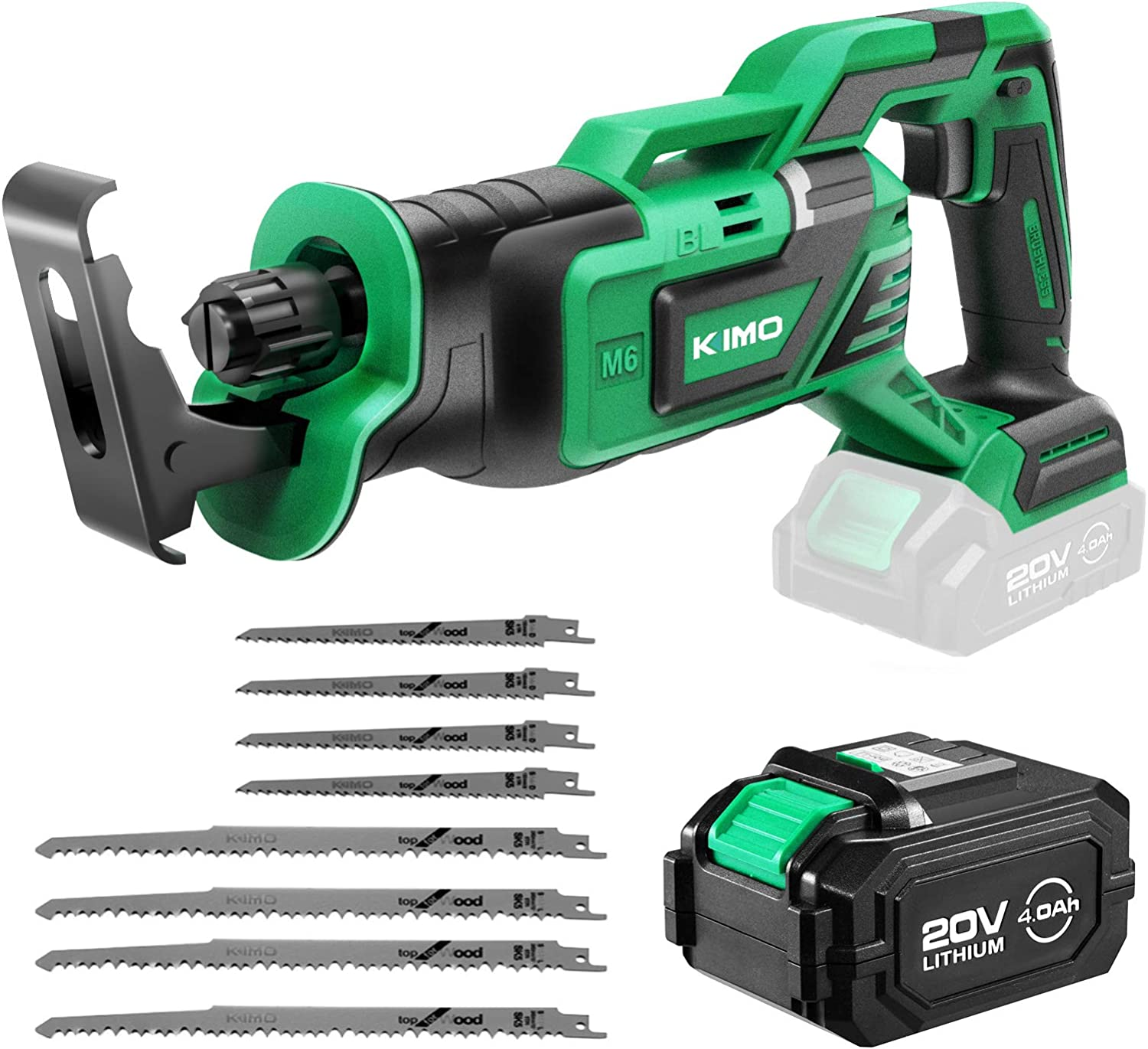 KIMO Brushless, Cordless Reciprocating Saw with Battery