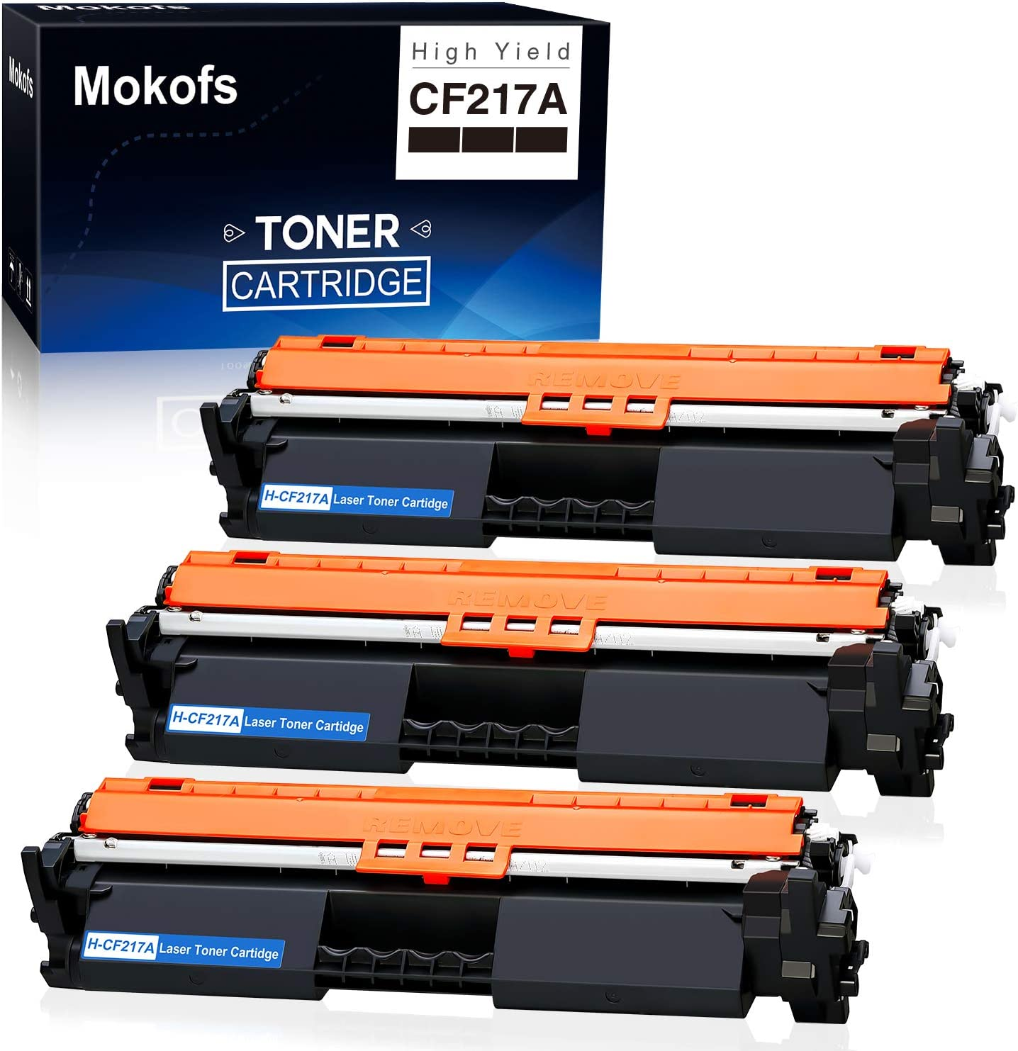 Mokofs CF217A Toner Carteidge Compatible Replacement for HP 17A H-CF217A Toner Carteidges, Work on HP Laserjet Pro M102w M102a, Laserjet Pro MFP M130nw M130fw M130fn M130a Printer (Black, 3 Pack)