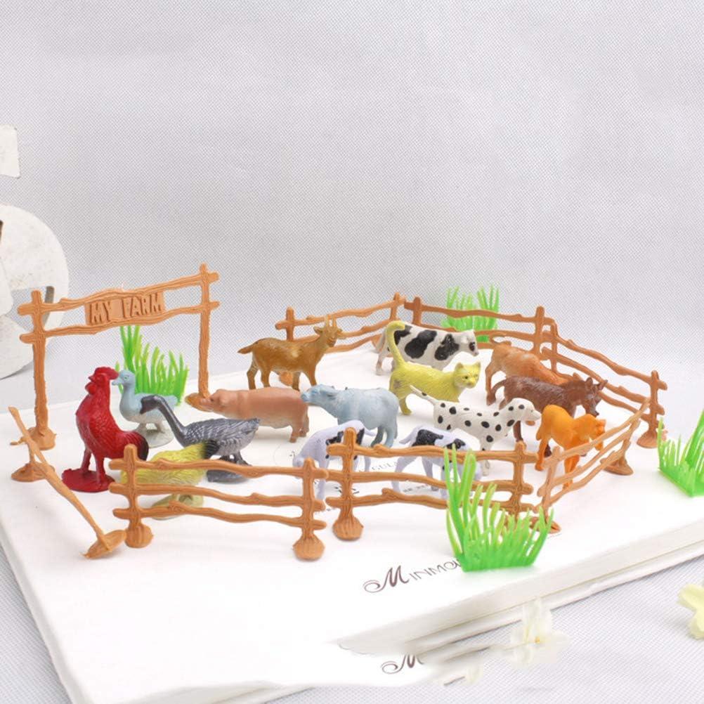 15pcs Animaux + 4pcs Herbe + 8 cl/ôture + 1pc Porte Toyvian 28pcs Animaux de la Ferme mod/èle Jouets Jouet de Similitude avec Porte cl/ôtures Jouet /éducatif cognition pour Enfants