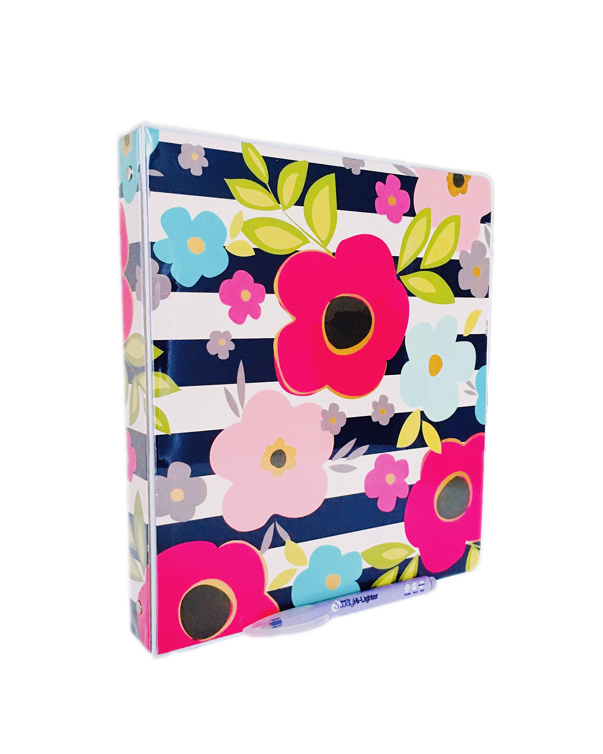 1'' Binder, Vinyl, 1.50 x 10.40 x 11.50 Inches 3 Rings Harper Collection by Pink Light Design and 3 Way Highlighter (Flower on Stripes)