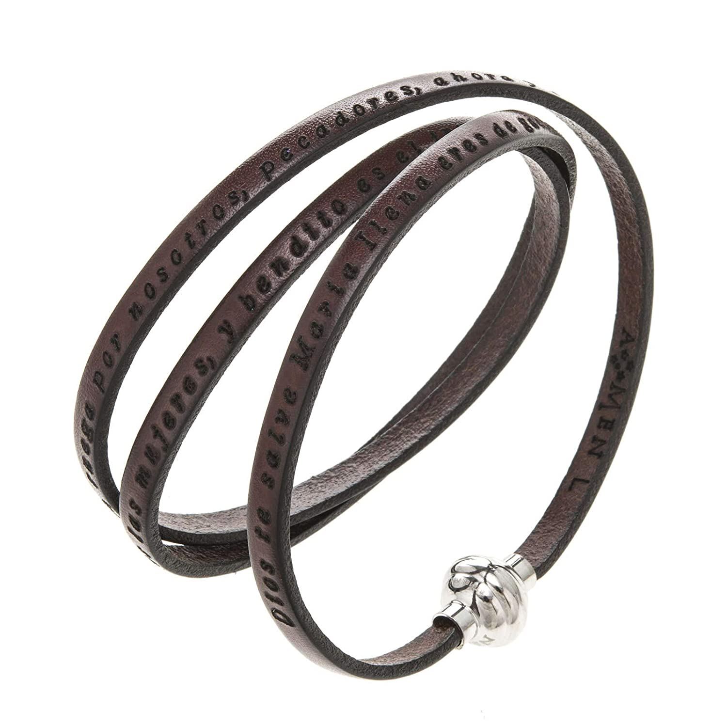 Amazon.com: Amen Bracelet in Brown Leather Hail Mary SPA, 54 cm (21.28 inc.): Home & Kitchen
