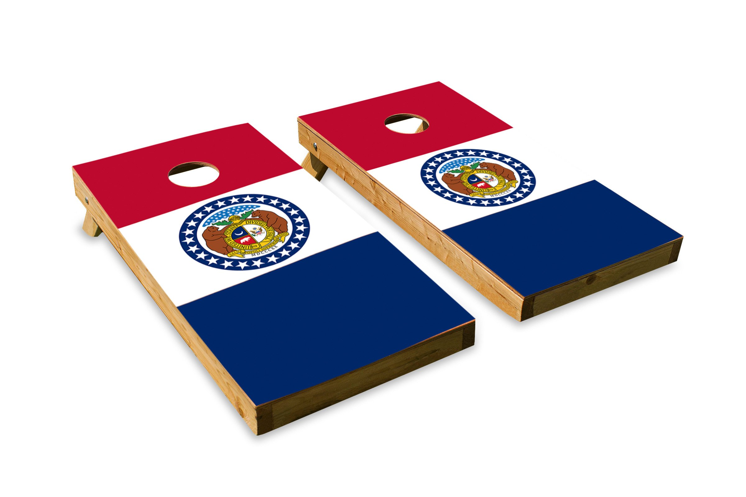 Missouri State Flag - Cornhole Crew - ACA Regulation Size Cornhole Board Set by The Cornhole Crew