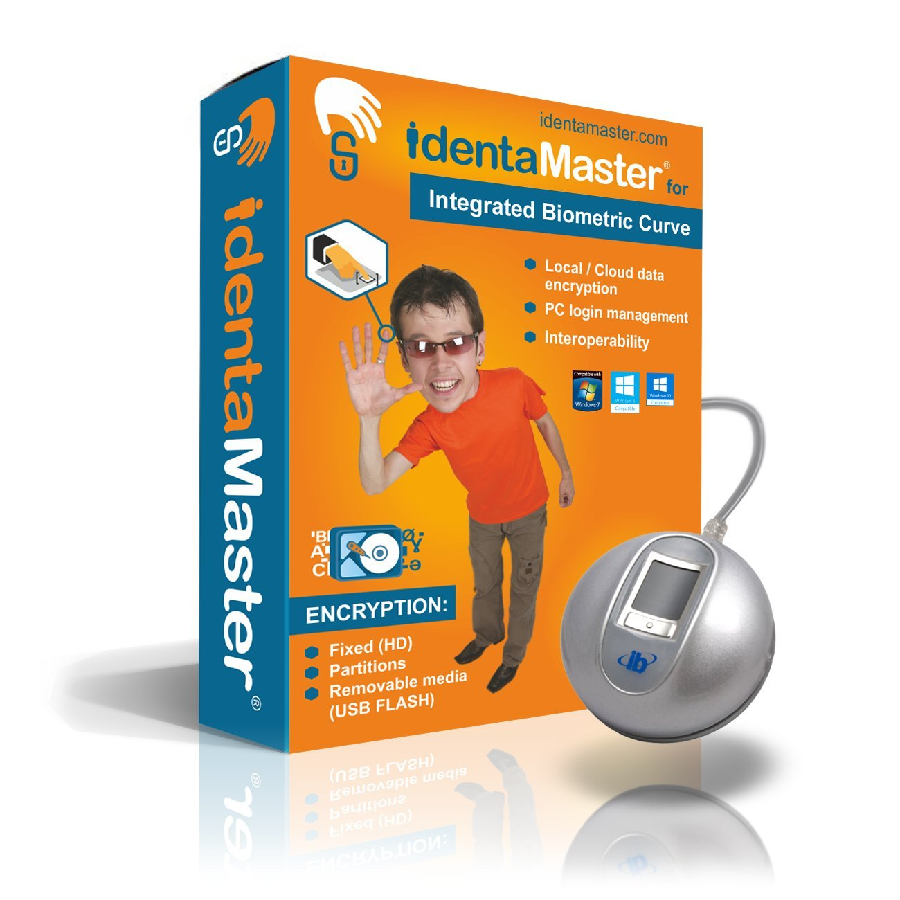 IdentaMaster Biometric Security Bundle with Integrated Biometrics The Curve - Software Included Encryption, Login for Windows 7/8/10 by IdentaZone