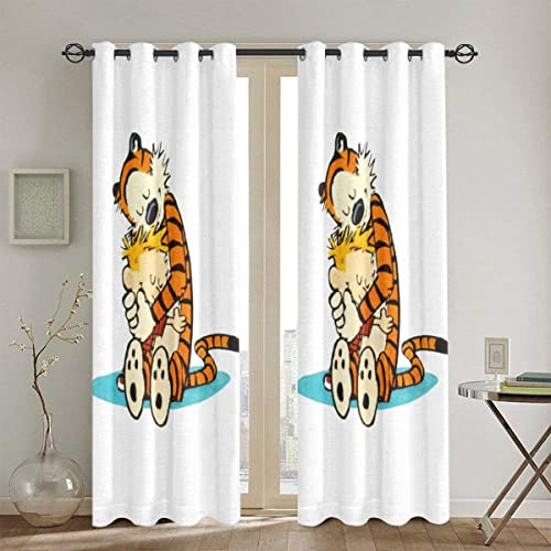 Calvin and Hobbes Curtains Bedroom Shading Sun Protection Heat Insulation Living Room Home Decor 2 Panels 52 X 84 in