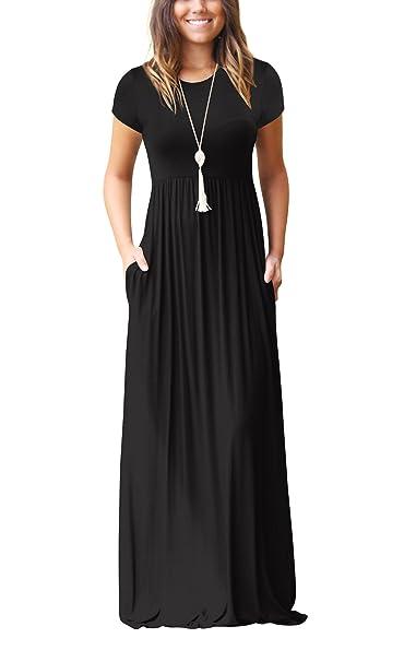 ZIKKER Women Short Sleeve Loose Plain Long Maxi Dress Casual Pockets Dresses Black Small