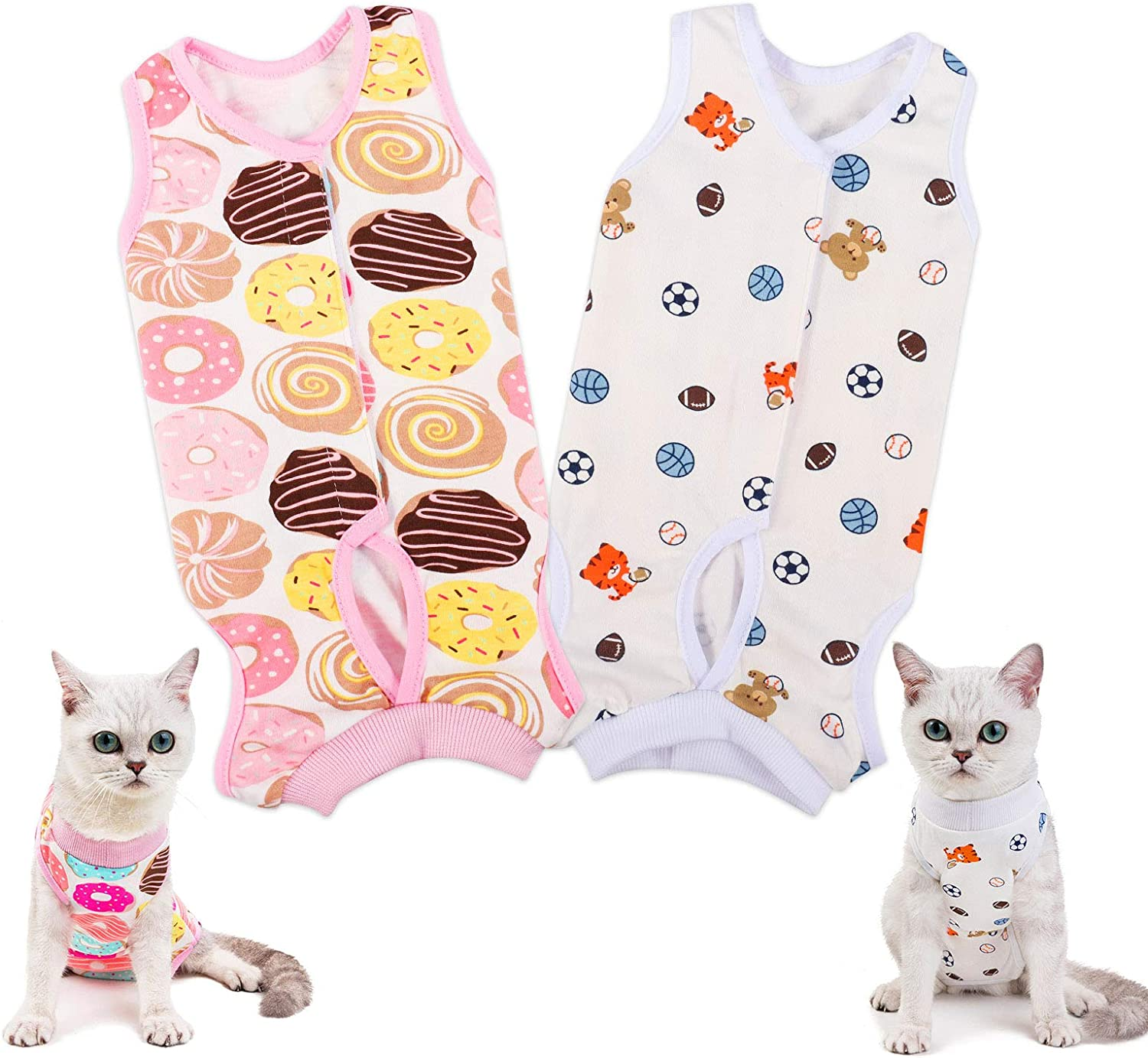 tiopeia E-Collar Alternative for Cats and Dogs, Pet Wound Surgery Recovery Suit for Abdominal Wounds or Skin Diseases, After Surgery Wear & Pajama Suit (M, Donuts+Soccer)