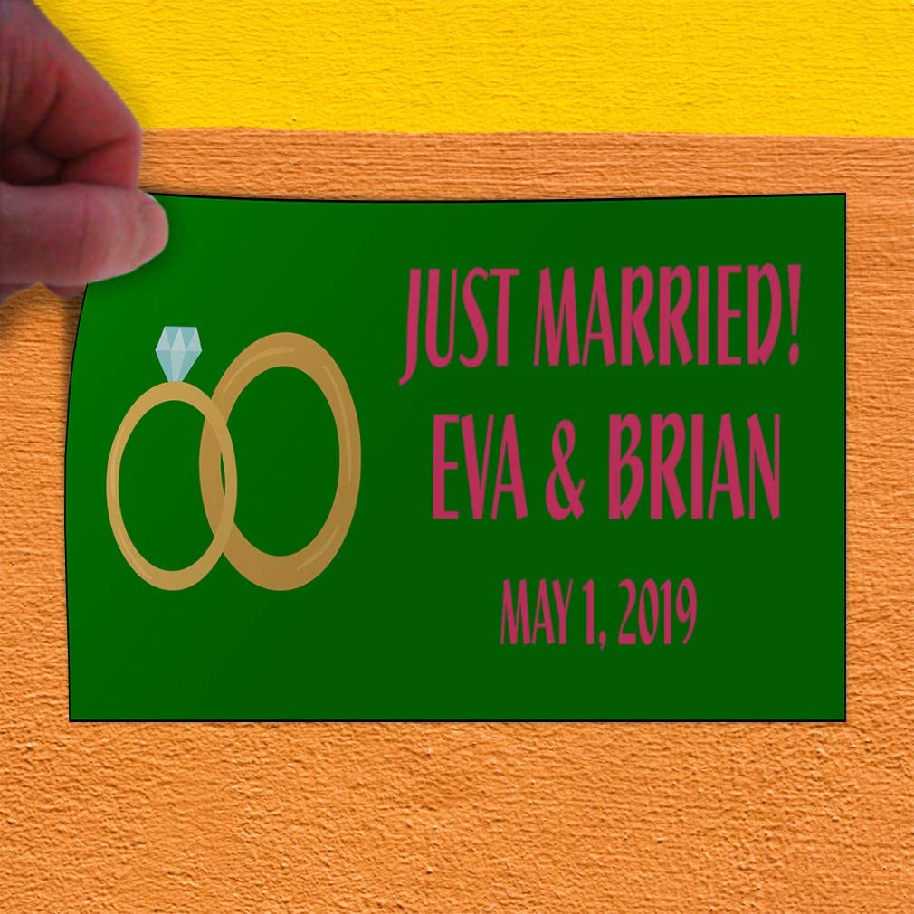 Custom Door Decals Vinyl Stickers Multiple Sizes Just Married Boy Girl Name Green Lifestyle Wedding Outdoor Luggage /& Bumper Stickers for Cars Green 54X36Inches Set of 2