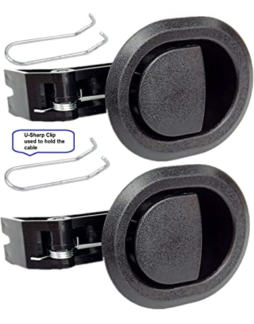 2x Recliner Replacement Parts @ Small Oval Black Plastic Pull Recliner Handle, Flapper Style,
