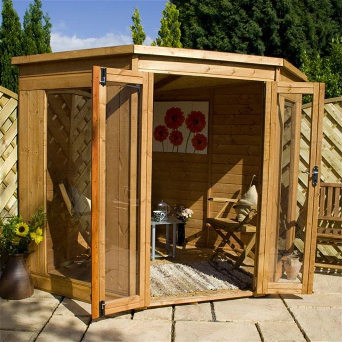 213, 36 cm x cm 213, 36 henselite fixthedrip jardín cenador de madera (10 mm OSB sólido suelo y techo): Amazon.es: Jardín