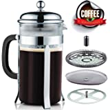 Seemo French Press Coffee Maker 1L Stainless Steel 304 Easy to Clean for Home Office 4 to 8 Cup 34oz (Transparent)