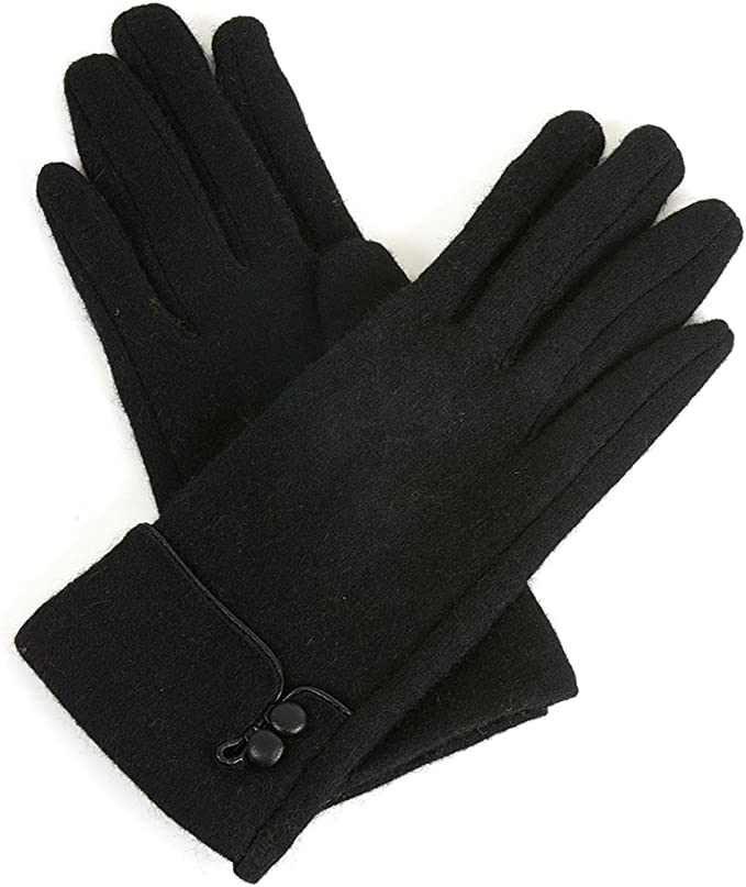 Vintage Style Gloves- Long, Wrist, Evening, Day, Leather, Lace Alpine Swiss Womens Wool & Leather Trim Touch Screen Dressy Button Gloves  AT vintagedancer.com