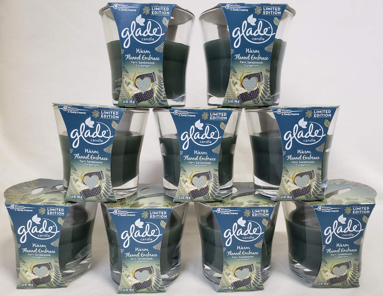 Lot of 9 - GLADE WARM FLANNEL EMBRACE LIMITED EDITION OIL CANDLES 3.4OZ FERN by Glade