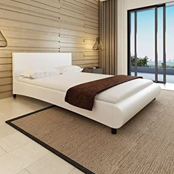 WEILANDEAL Cama con colchon de Cuero Artificial Blanca 140x200 cm Camas Dimensiones totales: 215 x 145 x 68 cm (Longitud x Anchura x Altura): Amazon.es: ...