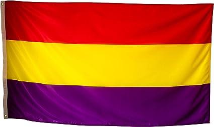Bandera Republicana Española Grande Exterior de Tela Fuerte Impermeable Resistente a la Intemperie, Bandera Republica 150x90 cm: Amazon.es: Jardín