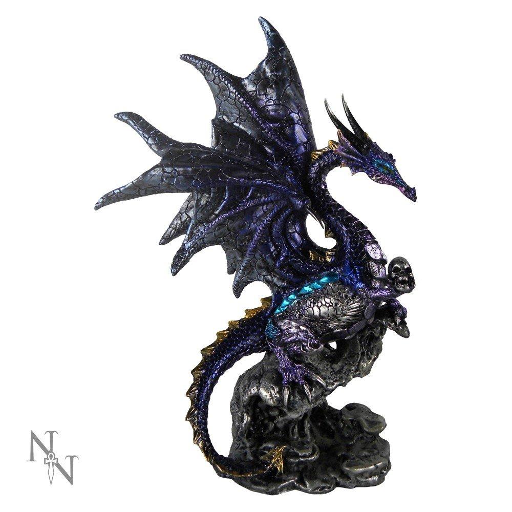 Figura de dragón negro con calavera