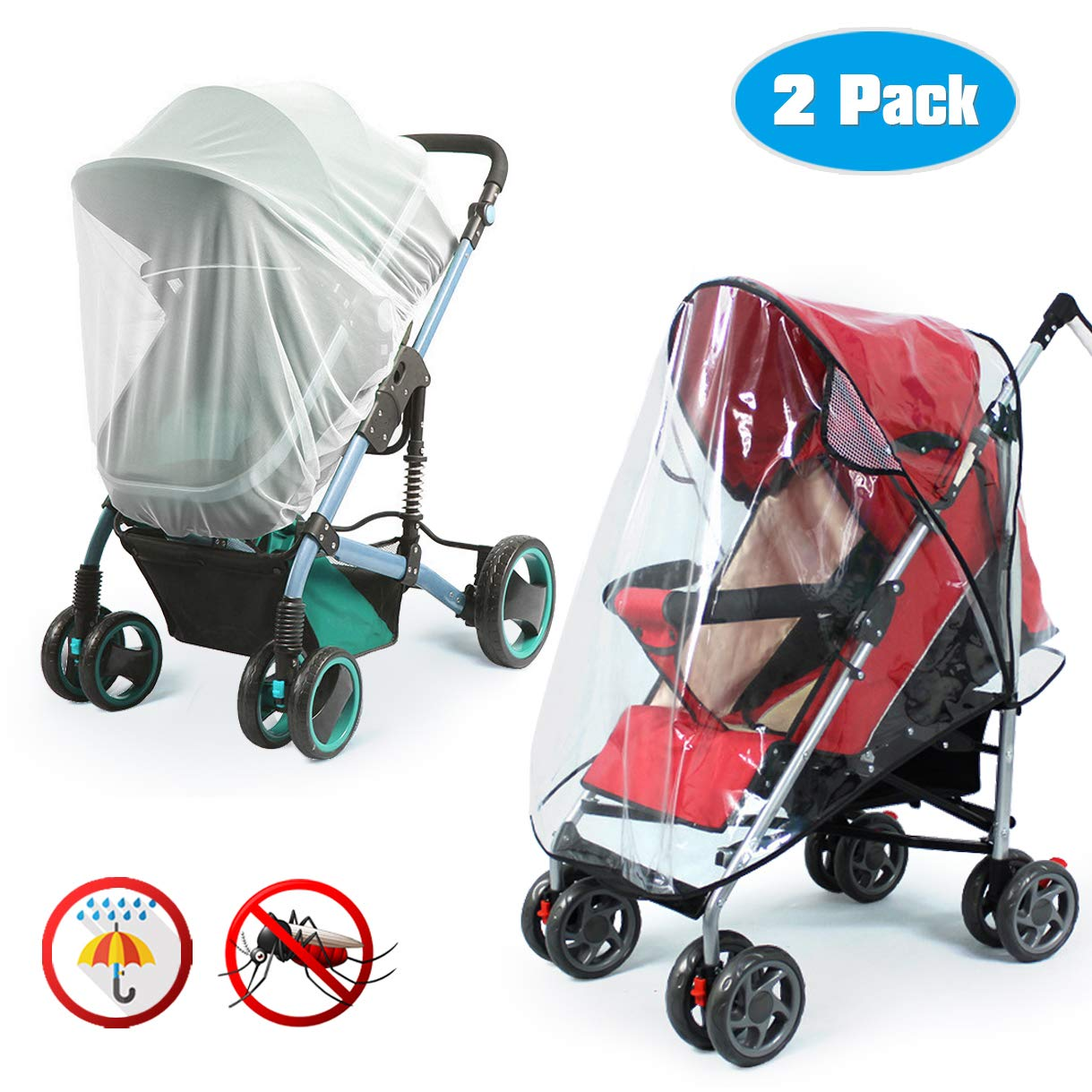 Universal Baby Stroller Rain Cover + Mosquito Net,Idefair Weather Shield Accessories,Protect from Rain Wind Snow Dust Insects Water Proof Ventilate Clear-Breathable Bug Shield for Baby Stroller by Idefair (Image #1)