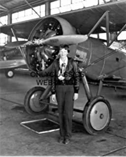 OnlyClassics 1935 Classy AVIATRIX Amelia Earhart 11x14 Photo Posing with Historic Airplane