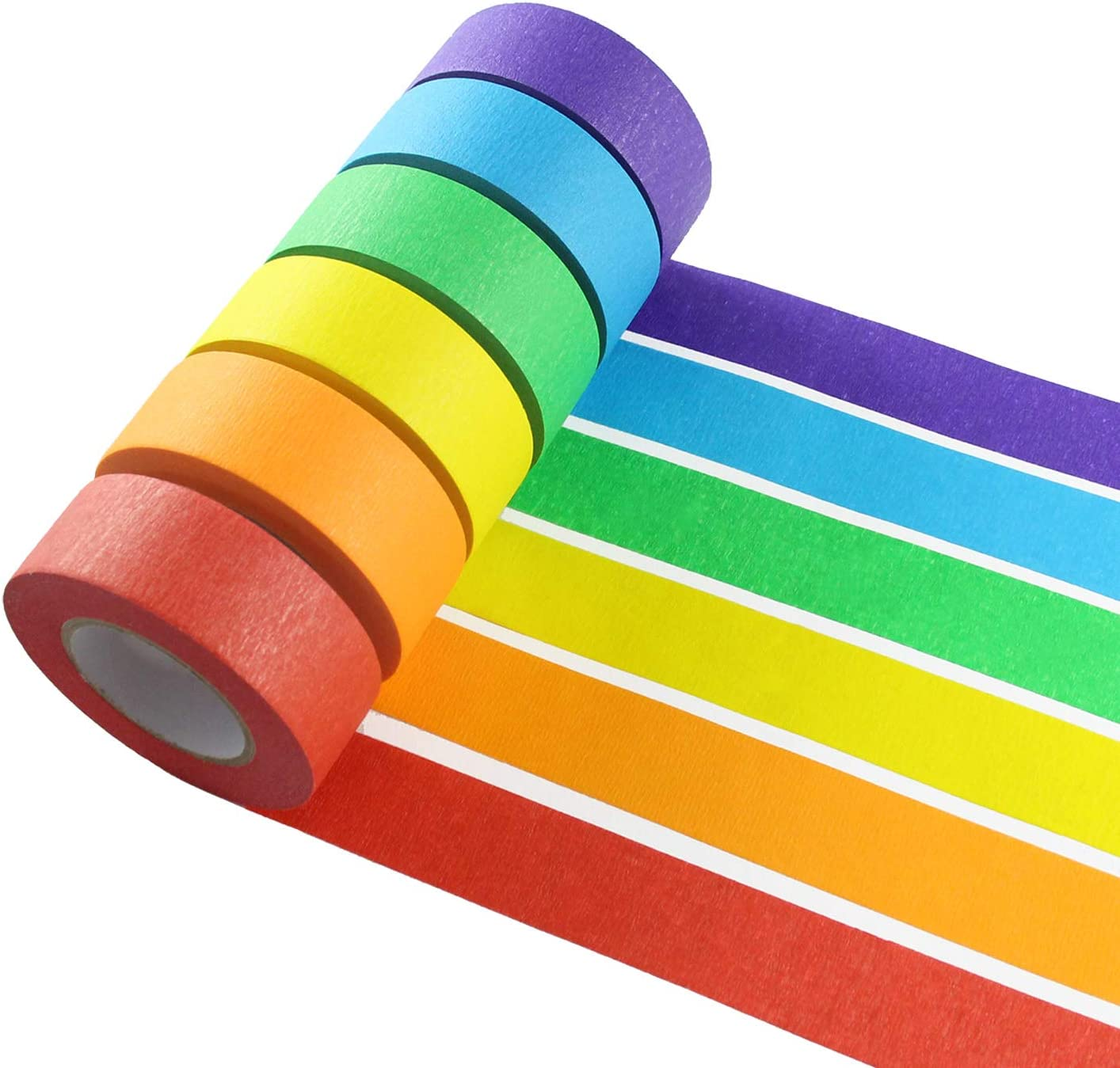 Colored Masking Tape, 6 Pieces 1 Inch x 22 Yard Rainbow Masking Tape Labeling Tape, Assorted Color Coded & Kids DIY Art Supplies, Home Decoration, Office Supplies