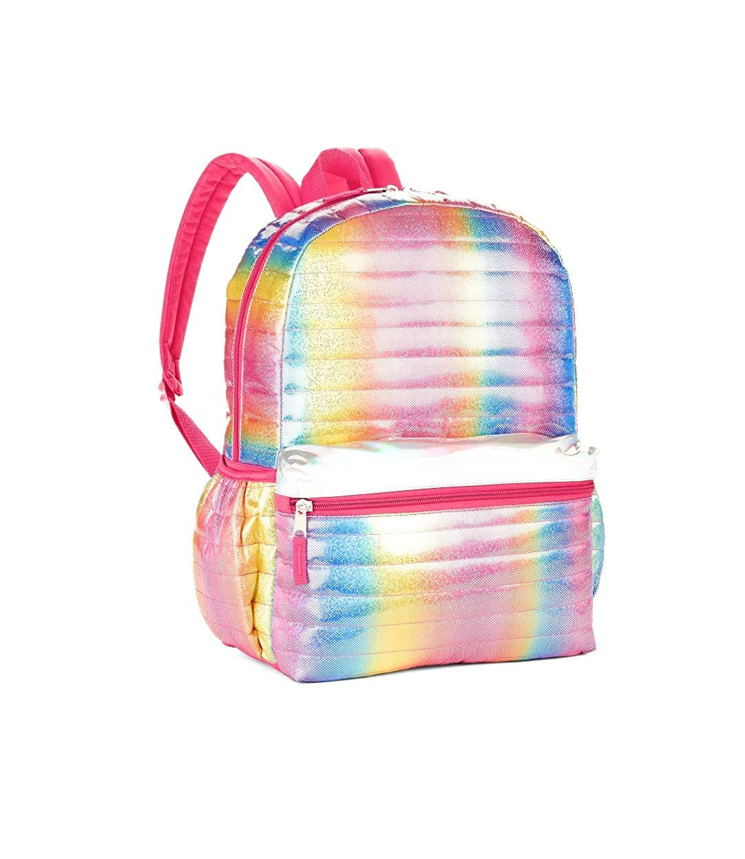 Girls Youth Girls Rainbow Shimmer Pink Quilted 16 Backpack